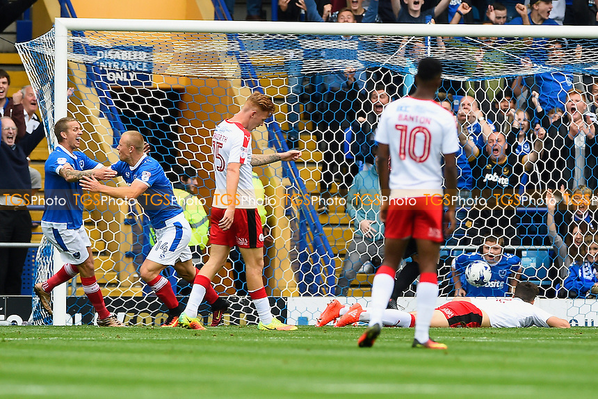 Curtis Main of Portsmouth second left celebrates scoring the first goal with Carl Baker of Portsmouth during Portsmouth vs Crawley Town, Sky Bet EFL League 2 Football at Fratton Park on 3rd September 2016