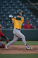 AZL Athletics right fielder Greg Deichmann (6) follows through on his swing during an Arizona League game against the AZL Angels at Tempe Diablo Stadium on June 26, 2018 in Tempe, Arizona. The AZL Athletics defeated the AZL Angels 7-1. (Zachary Lucy/Four Seam Images)