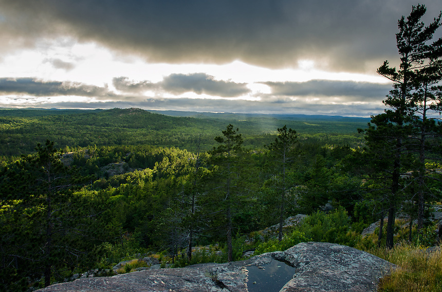 Rays of light shining down on God's Country - the U.P. landscape. Viewed from Sugarloaf Mtn. Marquette, MI