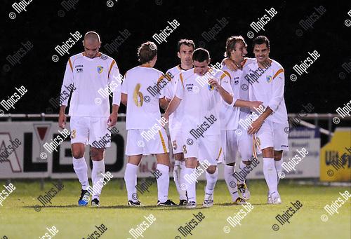 2011-09-10 / Voetbal / seizoen 2011-2012 / KFCO Wilrijk - Merksem SC / Sander Yzewyn (r) scoorde voor KFCO..Foto: mpics