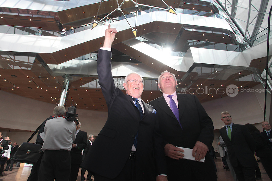 07/09/2010.Chairman of the Convention Centre Dermot Dwyer & Former Taoiseach Bertie Ahern TD . at the opening of the Convention Centre in Spencers Dock,  Dublin..Photo: Gareth Chaney Collins
