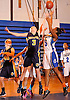 Heather Jerome #3 of Northport, left, and Nadiyah Khalil #15 of Copiague battle for a rebound during a Suffolk County League II varsity girls' basketball game at Copiague High School on Thursday, Jan. 28, 2016. Copiague won by a score of 59-52.