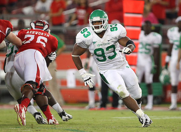 Denton, TX - OCTOBER 6: defensive end Brandon McCoy #93 of the North Texas Mean Green in action against the Houston Cougars at Robertson Stadium in Houston on October 6, 2012 in Houston, Texas. Photo by: Rick Yeatts
