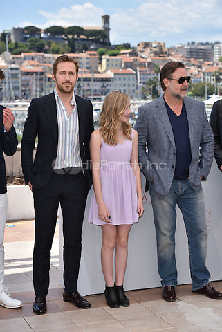 Ryan Gosling, Angourie Rice, Russell Crowe at 'The Nice Guys' photocall during the 69th International Cannes Film Festival, France<br /> May 2010<br /> CAP/PL<br /> &copy;Phil Loftus/Capital Pictures /MediaPunch ***NORTH AND SOUTH AMERICA ONLY***