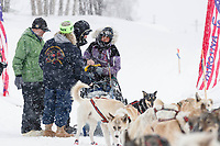 Marcelle Fressineau is checked in in the morning at the Takotna checkpoint during the 2019 Iditarod on Thurssday, March 7th 2019.<br /> <br /> Photo by Jeff Schultz/  (C) 2019  ALL RIGHTS RESERVED