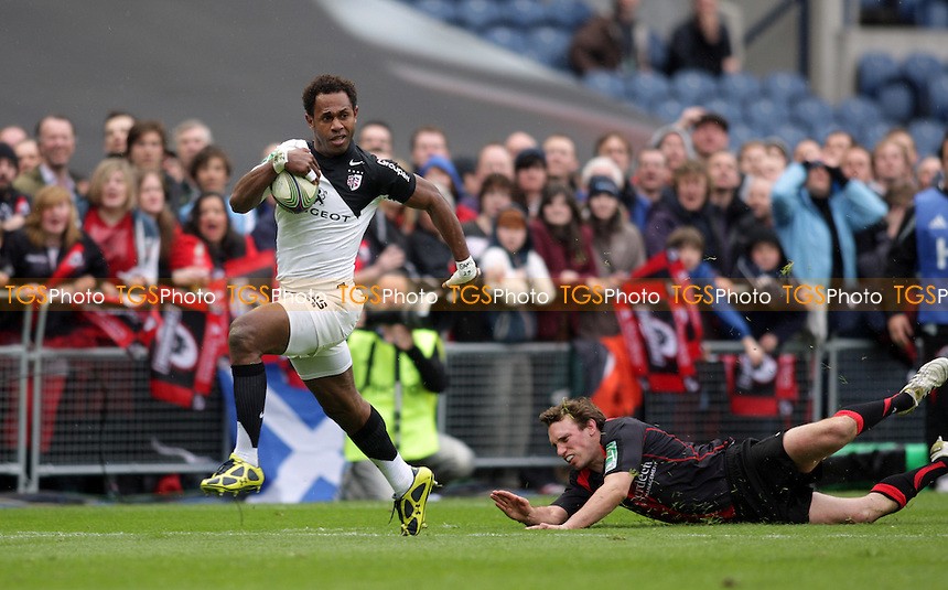 Timoci Matanavou  of Toulouse breaks and scores Toulouse's first try - Edinburgh Rugby vs Toulouse - Heineken Cup Quarter-Final Rugby at Murrayfield Stadium - 07/04/12 - MANDATORY CREDIT: Helen Watson/TGSPHOTO - Self billing applies where appropriate - 0845 094 6026 - contact@tgsphoto.co.uk - NO UNPAID USE.