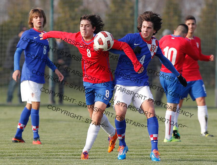 Fudbal  Reprezentacija Srbije<br /> Prijateljski mec Friendly match<br /> Srbija U17 v Croatia U17 <br /> Stefan Jankovic (L) and Andrija Balic<br /> Beograd, 11.12.2013.<br /> foto: Srdjan Stevanovic/Starsportphoto &copy;