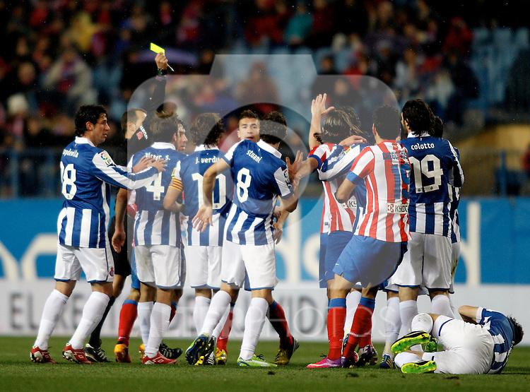 (L-R) Atletico de Madrid's Filipe Luis, Diego Costa and Espanyol's Capdevila, V.Sanchez, Verdu, Stuani, Colotto during La Liga  match. February 24,2013.(ALTERPHOTOS/Alconada)