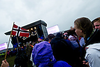 Norwegian scouts are marching in to the opening ceremony. Photo: Fredrik Sahlström/Scouterna