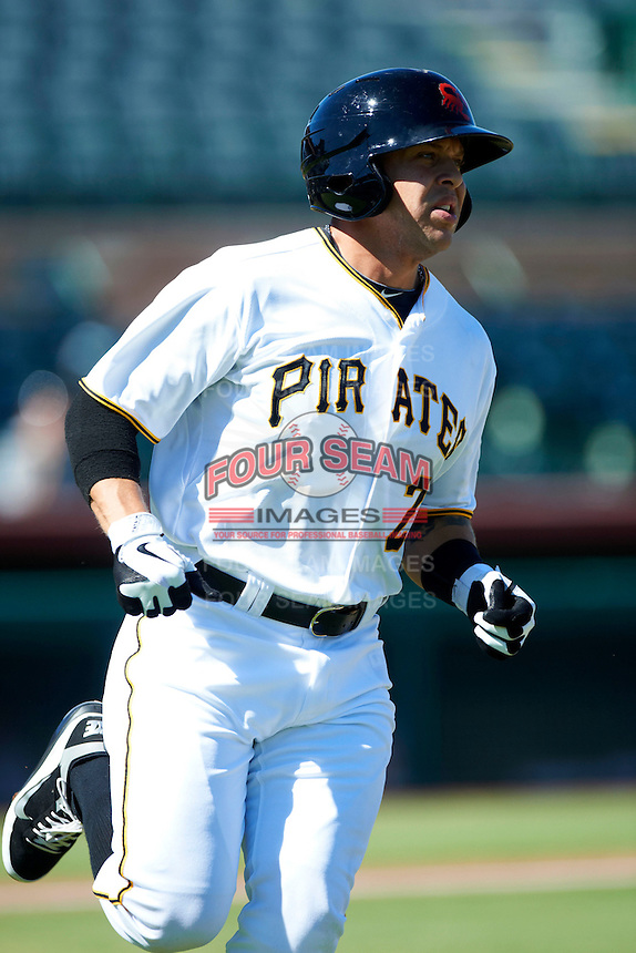 Scottsdale Scorpions outfielder Adalberto Santos #2, of the Pittsburgh Pirates organization, during an Arizona Fall League game against the Surprise Saguaros at Scottsdale Stadium on October 16, 2012 in Scottsdale, Arizona.  Surprise defeated Scottsdale 11-3.  (Mike Janes/Four Seam Images)