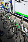 Orica GreenEdge Scott team bikes lined up outside the team bus before the start of the 56th edition of the E3 Harelbeke, Belgium, 22nd  March 2013 (Photo by Eoin Clarke 2013)