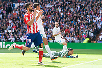 Real Madrid Raphael Varane, Keylor Navas and Daniel Carvajal and Atletico de Madrid Diego Costa during La Liga match between Real Madrid and Atletico de Madrid at Santiago Bernabeu Stadium in Madrid, Spain. April 08, 2018. (ALTERPHOTOS/Borja B.Hojas) /NortePhoto NORTEPHOTOMEXICO