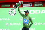 Nairo Quintana (COL) Movistar Team retains the Green Jersey at the end of Stage 8 of La Vuelta 2019 running 166.9km from Valls to Igualada, Spain. 31st August 2019.<br /> Picture: Luis Angel Gomez/Photogomezsport | Cyclefile<br /> <br /> All photos usage must carry mandatory copyright credit (© Cyclefile | Luis Angel Gomez/Photogomezsport)