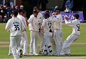 June 11th 2017, Trafalgar Road Ground, Southport, England; Specsavers County Championship Division One; Day Three; Lancashire versus Middlesex; Stephen Parry of Lancashire is congratulated by his team mates after he takes his third wicket, dismissing Middlesex's John Simpson for a duck; Lancashire were all out for 309 after lunch in reply to Middlesex's first innings score of 180 all out