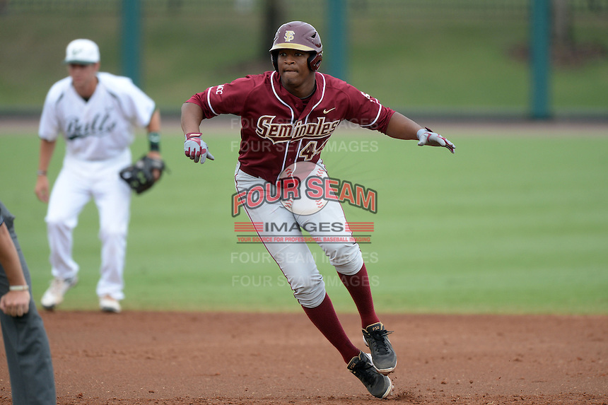 Florida State Seminoles designated hitter / relief pitcher Jameis Winston (44) leads off second during a game against the South Florida Bulls on March 5, 2014 at Red McEwen Field in Tampa, Florida.  Florida State defeated South Florida 4-1.  (Mike Janes/Four Seam Images)