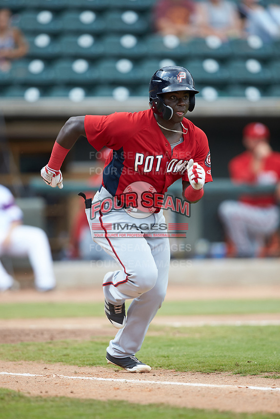 Telmito Agustin (4) of the Potomac Nationals hustles down the first base line against the Winston-Salem Rayados at BB&T Ballpark on August 12, 2018 in Winston-Salem, North Carolina. The Rayados defeated the Nationals 6-3. (Brian Westerholt/Four Seam Images)