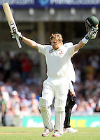 Shane Watson of Australia celebrates his century - England vs Australia - 1st day of the 5th Investec Ashes Test match at The Kia Oval, London - 21/08/13 - MANDATORY CREDIT: Rob Newell/TGSPHOTO - Self billing applies where appropriate - 0845 094 6026 - contact@tgsphoto.co.uk - NO UNPAID USE