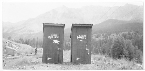 Comfort stations at Trout Lake with Sheep Mountain in background.<br /> RGS  Trout Lake, CO  Taken by Hilner, Ray C. - 8/17/1951