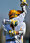 17 March 2012: University of Vermont Catamount Attackman Connor McNamara, a Sophomore from Winchester, MA, celebrates scoring against the Sacred Heart University Pioneers at Virtue Field in Burlington, Vermont. The visiting Pioneers rallied to tie the score at 11 with five unanswered goals in the 4th period. However the Cats came back with only 10 seconds remaining in the game to defeat the Pioneers 12-11 in their non-conference matchup. Mandatory Credit: Ed Wolfstein Photo