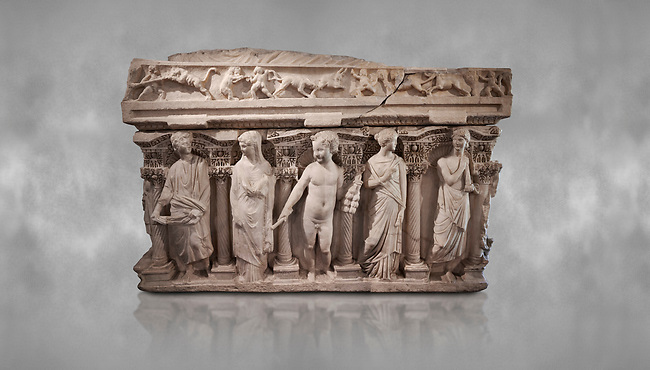 "Roman relief sculpted sarcophagus with kline couch lid, ""Columned Sarcophagi of Asia Minor"" style typical of Sidamara, 3rd Century AD, Konya Archaeological Museum, Turkey."