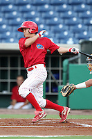 Clearwater Threshers Troy Hanzawa #15 at bat during a game against the Daytona Cubs at Brighthouse Stadium on June 23, 2011 in Clearwater, Florida.  Clearwater defeated Daytona 6-5.  (Mike Janes/Four Seam Images)