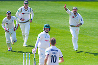 Picture by Alex Whitehead/SWpix.com - 21/04/2018 - Cricket - Specsavers County Championship Div One - Yorkshire v Nottinghamshire, Day 2 - Emerald Headingley Stadium, Leeds, England - Yorkshire's Adam Lyth, Alex Lees and Andrew Hodd celebrate the wicket of Notts' Tom Moores off the bowling of Ben Coad.