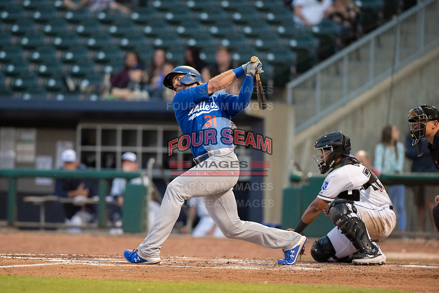 Tulsa Drillers outfielder D.J. Peters (31) connects on a pitch on May 13, 2019, at Arvest Ballpark in Springdale, Arkansas. (Jason Ivester/Four Seam Images)