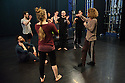 Cardiff, UK. 19.01.2016. National Dance Company Wales in the studio at Dance House, Wales Millennium Centre, rehearsing FOLK, choreographed by artistic director, Caroline Finn, in preparation for their Spring Tour 2016. Caroline Finn (right) with the Company. Photograph © Jane Hobson.