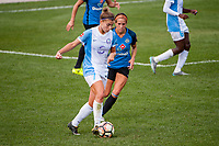 Kansas City, MO - Wednesday August 16, 2017: Steph Catley, Shea Groom during a regular season National Women's Soccer League (NWSL) match between FC Kansas City and the Orlando Pride at Children's Mercy Victory Field.