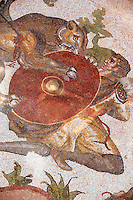 The Lion Hunt from the Room of The Small Hunt, no 25 - . Roman mosaics at the Villa Romana del Casale which containis the richest, largest and most complex collection of Roman mosaics in the world. Constructed  in the first quarter of the 4th century AD. Sicily, Italy. A UNESCO World Heritage Site.