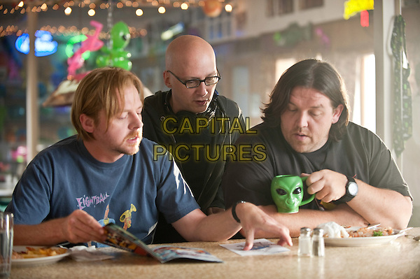 SIMON PEGG, GREG MOTTOLA (DIRECTOR) & NICK FROST.on the set of Paul (2011).*Filmstill - Editorial Use Only*.CAP/FB.Supplied by Capital Pictures.