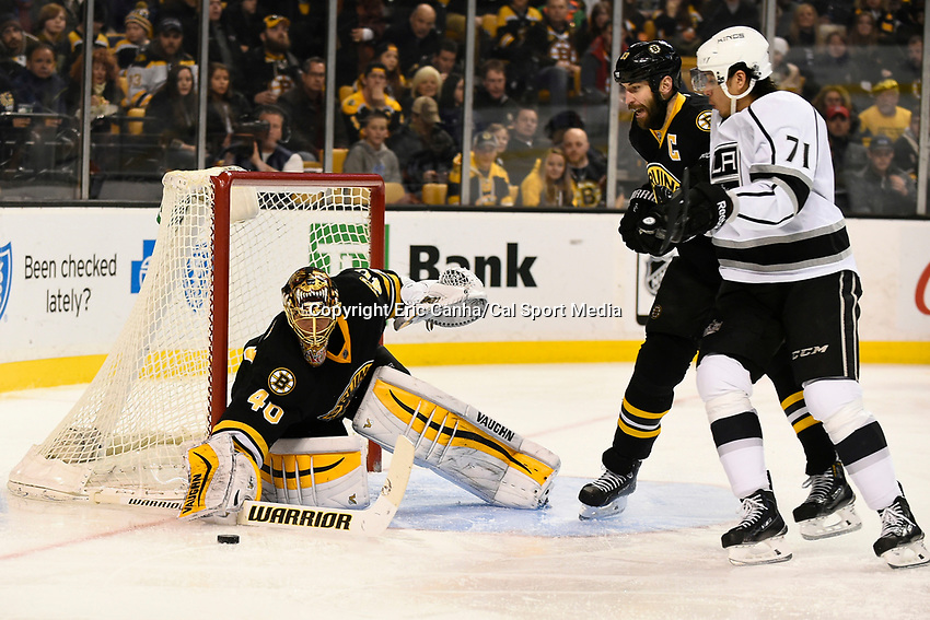 January 31, 2015 - Boston, Massachusetts, U.S. - Boston Bruins goalie Tuukka Rask (40) makes a save during the second period of the NHL game between the Los Angeles Kings and the Boston Bruins held at TD Garden in Boston Massachusetts.  Eric Canha/CSM