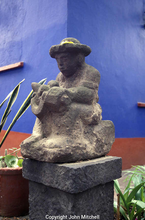 Statue or Diego Rivera at the Museo Frida Kahlo, also known as the Blue House or Casa Azul, in Coyoacan, Mexico City. Mexican artist Frida Kahlo was born this house and lived in it with her husband Diego riva from 1929 until 1954.