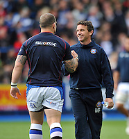 Mike Ford has a word with Paul James during the pre-match warm-up. Amlin Challenge Cup Final, between Bath Rugby and Northampton Saints on May 23, 2014 at the Cardiff Arms Park in Cardiff, Wales. Photo by: Patrick Khachfe / Onside Images