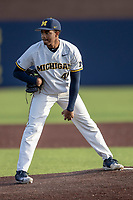 Michigan Wolverines pitcher Angelo Smith (40) looks to his catcher for the sign against the San Jose State Spartans on March 27, 2019 in Game 2 of the NCAA baseball doubleheader at Ray Fisher Stadium in Ann Arbor, Michigan. Michigan defeated San Jose State 3-0. (Andrew Woolley/Four Seam Images)