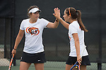 April 22, 2015; San Diego, CA, USA; Pacific Tigers tennis players Daria Labintseva (left) and Gergana Boncheva (right) during the WCC Tennis Championships at Barnes Tennis Center.