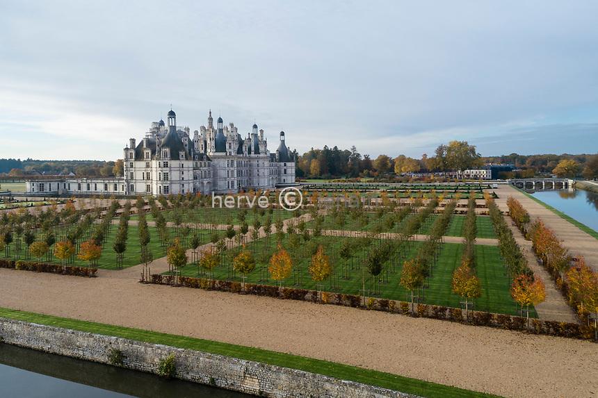France, Loire-et-Cher (41), Chambord, château de Chambord, le Cosson, le château et le jardin à la française vu depuis le côté nord-est, alignements de merisiers (Prunus avium) au premier plan (vue aérienne)