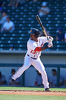 Mesa Solar Sox left fielder Daniel Johnson (13), of the Washington Nationals organization, at bat during a game against the Surprise Saguaros on October 20, 2017 at Sloan Park in Mesa, Arizona. The Solar Sox walked-off the Saguaros 7-6.  (Zachary Lucy/Four Seam Images)