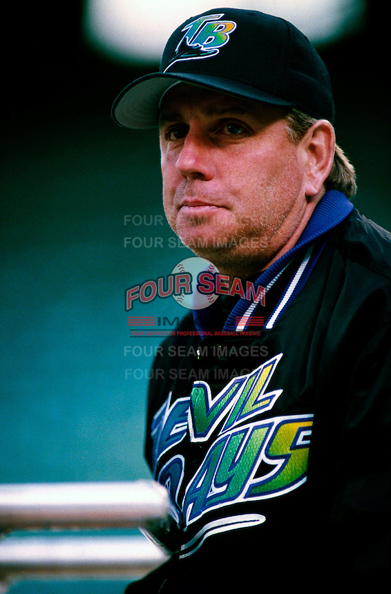 Tampa Bay Devil Rays Manager Larry Rothschild plays in a baseball game at Edison International Field during the 1998 season in Anaheim, California. (Larry Goren/Four Seam Images)
