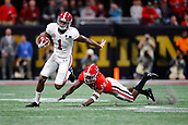 January 8th 2018, Atlanta, GA, USA; Alabama Crimson Tide wide receiver Robert Foster (1) breaks a tackle of Georgia Bulldogs defensive back J.R. Reed (20) and turns upfield during the College Football Playoff National Championship Game between the Alabama Crimson Tide and the Georgia Bulldogs on January 8, 2018 at Mercedes-Benz Stadium in Atlanta, GA.