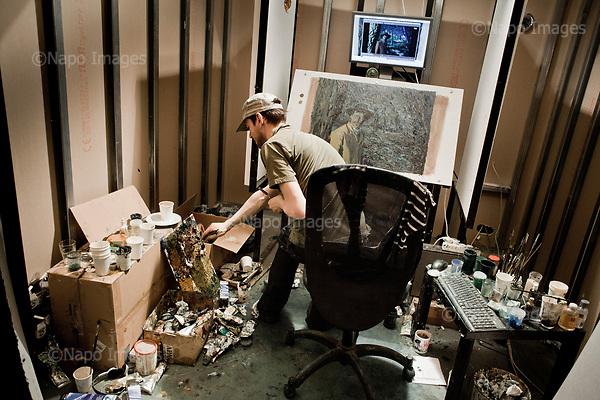 GDANSK, 30/05/2016:<br /> Polish painter Jerzy Lisak is painting in his box at the production venue of &quot;Loving Vincent,&quot; an animated film being made in Poland about Vincent Van Gogh that's using oil-painted cels. Each finished cel is photographed on the spot and transferred to computer's memory.<br /> (Photo by Piotr Malecki / Napo Images)<br /> <br />  <br /> ####<br /> GDANSK, 30/05/2016:<br /> Produkcja filmu &quot;Twoj Vincent&quot; - pierwszego w historii filmu animowanego skladajacego sie w calosci z klatek osobno malowanych na plotnie przez dziesiatki zatrudnionych w tym celu malarzy z calego swiata.<br /> (Fot: Piotr Malecki dla NYT / Napo Images /  Napo Images) <br /> <br /> <br /> ### Zakaz publikacji w negatywnym kontekscie. Cena minimalna: 100 PLN ### Zakaz publikacji w Gazecie Polskiej ###
