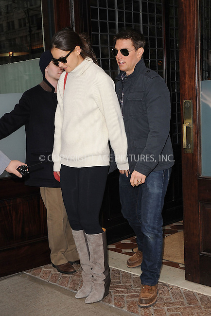 WWW.ACEPIXS.COM . . . . . .December 17, 2011...New York City....Katie Holmes and Tom Cruise leave their hotel on December 17, 2011 in New York City.....Please byline: KRISTIN CALLAHAN - ACEPIXS.COM.. . . . . . ..Ace Pictures, Inc: ..tel: (212) 243 8787 or (646) 769 0430..e-mail: info@acepixs.com..web: http://www.acepixs.com .