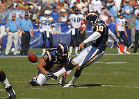Sept. 17, 2006; San Diego, CA, USA; San Diego Chargers punter (5) Mike Scifres holds for kicker (10) Nate Kaeding against the Tennessee Titans at Qualcomm Stadium in San Diego, CA. Mandatory Credit: Mark J. Rebilas