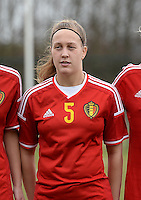 20150226 - Tubize , Belgium : Belgian Celien Guns pictured during the friendly female soccer match between Women under 17 teams of  Belgium and Scotland  . Thursday 26th February 2015 . PHOTO DAVID CATRY
