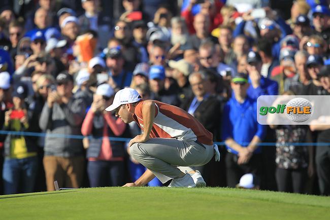 Sergio Garcia (Team Europe) on the 12th green during Saturday Foursomes at the Ryder Cup, Le Golf National, Ile-de-France, France. 29/09/2018.<br /> Picture Thos Caffrey / Golffile.ie<br /> <br /> All photo usage must carry mandatory copyright credit (© Golffile | Thos Caffrey)