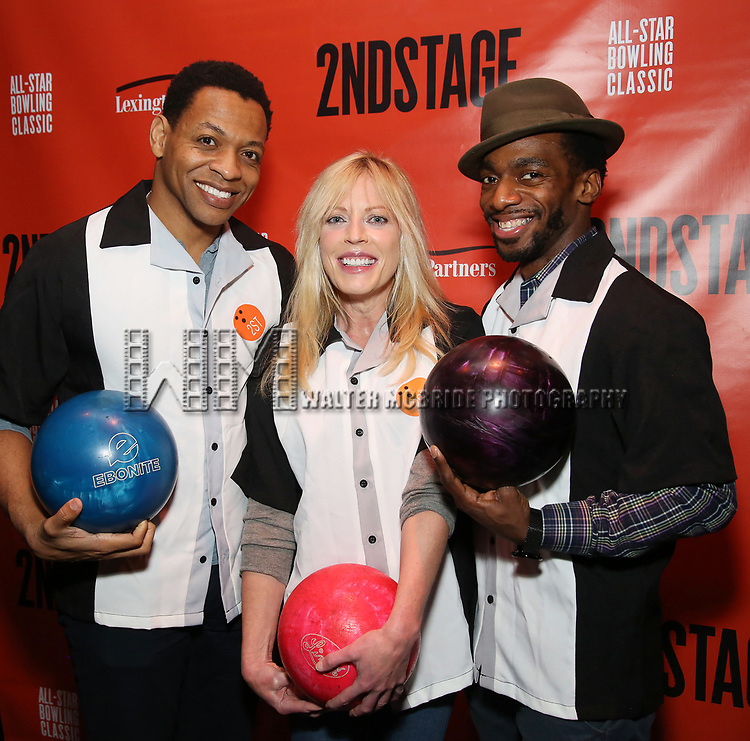 Derrick Baskin, Sherie Rene Scott and Daniel J. Watts attends the Second Stage Theatre 2018 Bowling Classic at Lucky Strike  on February 12, 2018 in New York City.