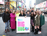 Laura Heywood, aka @BroadwayGirlNYC, with Leah Lane, Bonnie Comley, Michael Park, Laura Nowark, Anthony Rosenthal with fellow huggers attend Big Hug Day: Broadway comes together to spread kindness and raise funds for Children's Hospitals on January 21, 2018 at Duffy Square, Times Square in New York City.