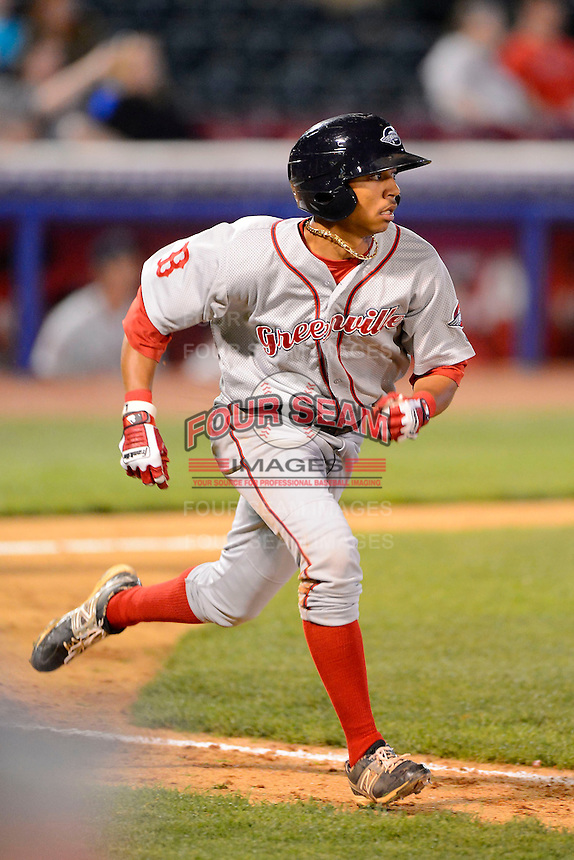 Greenville Drive second baseman Mookie Betts #7 during a game against the Lexington Legends on April 18, 2013 at Whitaker Bank Ballpark in Lexington, Kentucky.  Lexington defeated Greenville 12-3.  (Mike Janes/Four Seam Images)