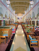 Woodbury University, Woodbury Business College, private, non-profit, coeducational, nonsectarian university, Burbank, California, Library  bookshelves in renovated chapel