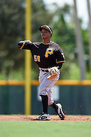 Pittsburgh Pirates shortstop Adrian Valerio (59) during an Instructional League Intrasquad Black & Gold game on September 28, 2016 at Pirate City in Bradenton, Florida.  (Mike Janes/Four Seam Images)